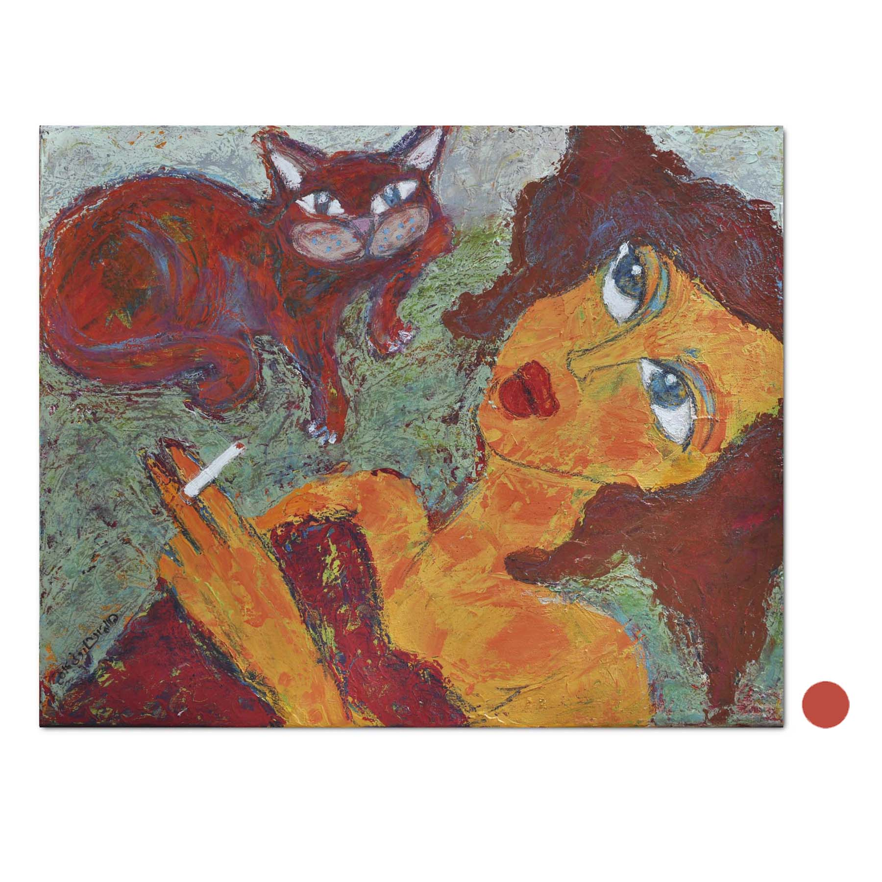 Terrific Woman Smoking With The Cat On The Couch Mix Media On Cjindustries Chair Design For Home Cjindustriesco